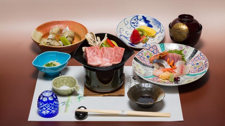 *旬の丹後の食材を料理長が腕をふるう丹後の地魚と牛陶板ステーキ!