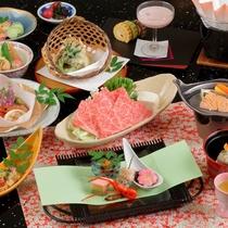 春の季節の和会席一例~神戸ビーフしゃぶしゃぶをメインに12品の会席