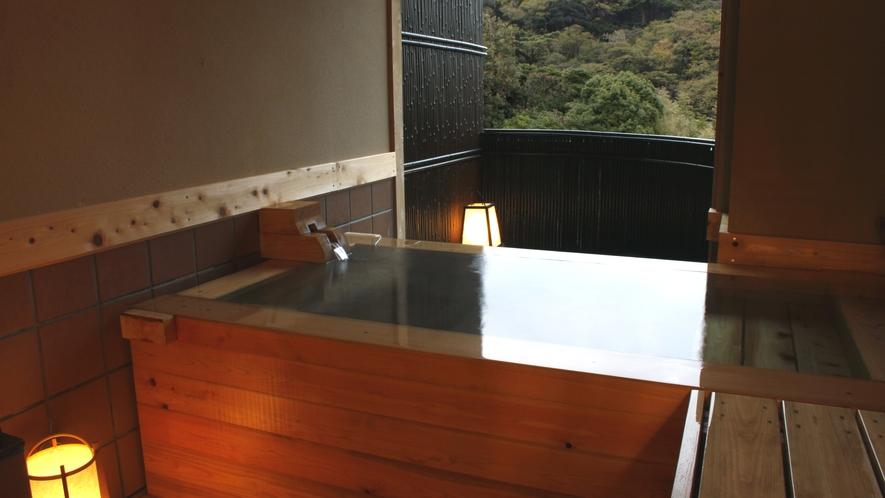 檜の貸切風呂「月明り」