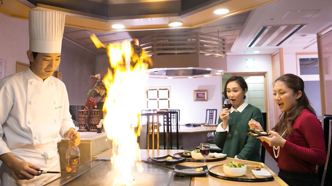 皆生温泉唯一☆アツアツ出来立てA5鳥取和牛を目の前で♪ステーキハウス「蘭」でいつもと違うディナーを♪
