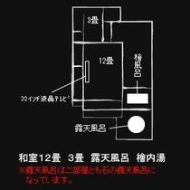 【別館『はせを亭』】あらの・ひさご(和室12畳 + 3畳 + 露天風呂 + 檜内湯)