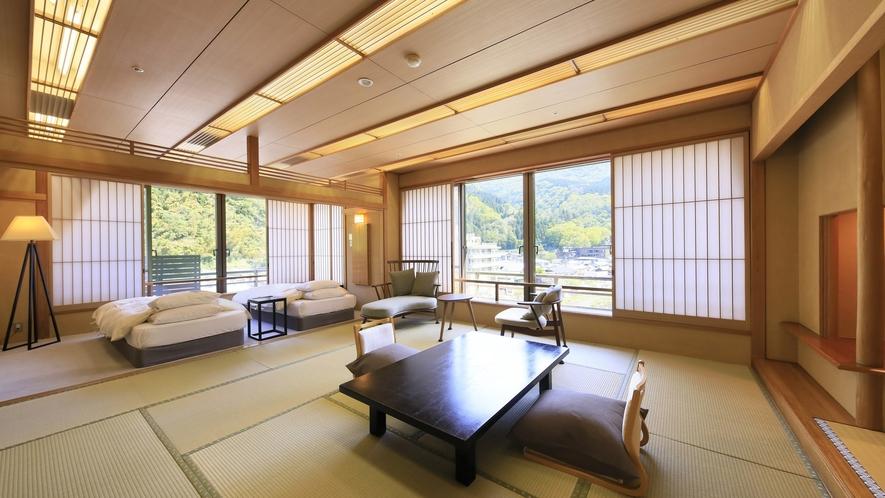 【温泉付 和洋室】和室12.5畳+2ベットのゆったりしたお部屋でお寛ぎください。写真はイメージです。