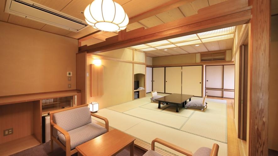 【温泉付 和室12畳】数寄屋造りの和風客室。懐かしさと自然のおおらかを感じながらお過ごしください。