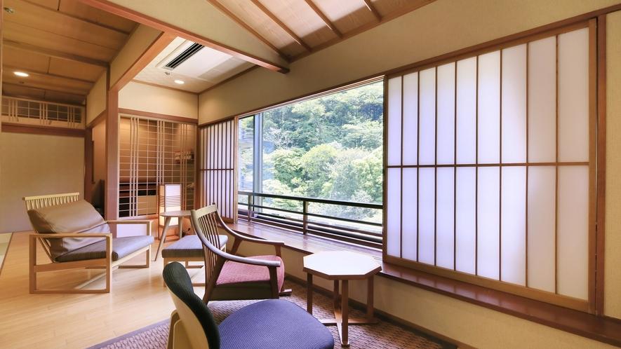 【山側 和洋室】プライベート空間を演出するツインベッドルーム