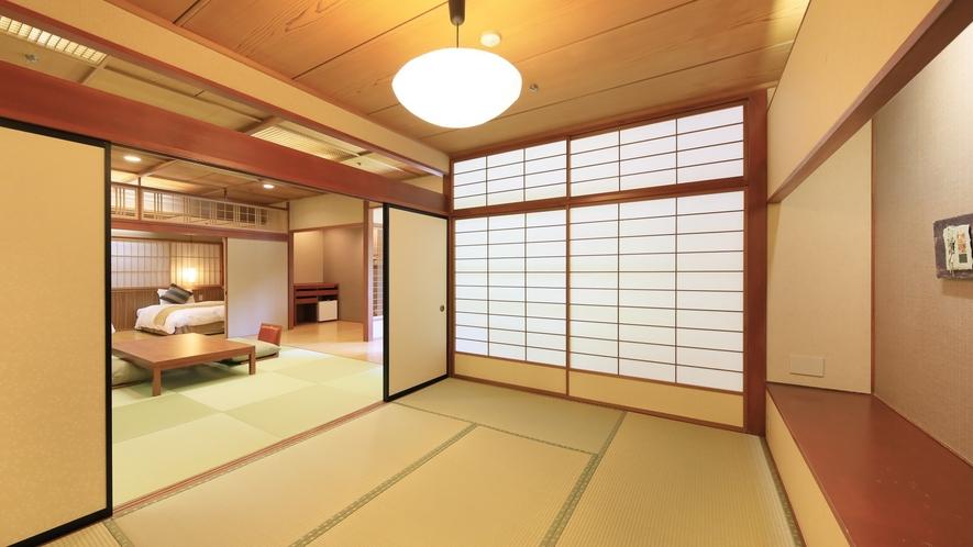 【山側 和洋室】ゆとりある二間のお部屋。3名様以上の場合は追加のお布団をご用意
