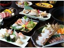 のどぐろ+ホタルイカ+白えび+富山湾すし ◆料理長厳選会席~春~◆(料理例)