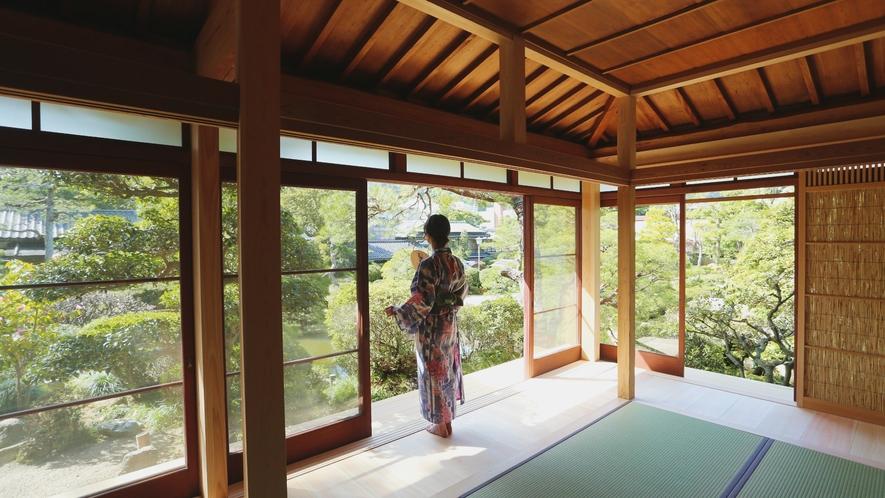 別邸『相生』パノラマビューの日本庭園が広がります