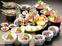 皿鉢料理とアワビ&牛陶板鍋