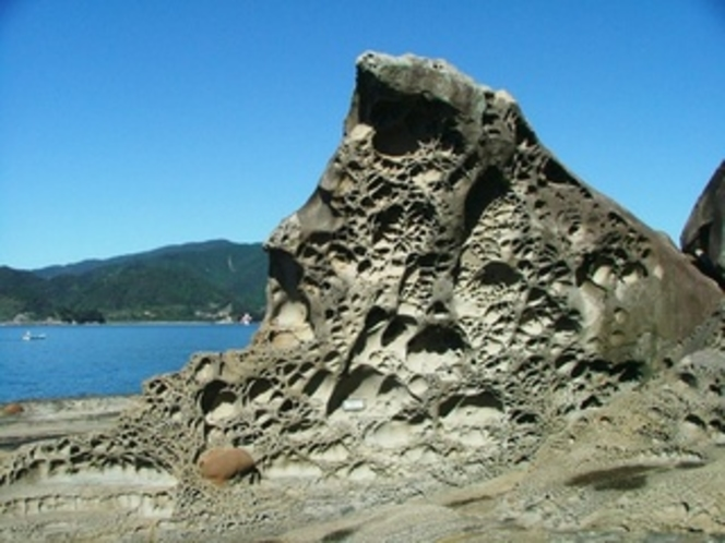 見残し海岸にある、蜂の巣城