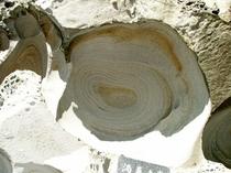 見残し海岸にある「渦巻岩」
