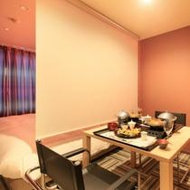 部屋食<火~HI~>洋室ツインシモンズセミダブルハリウッドツイン+マッサージチェア料理