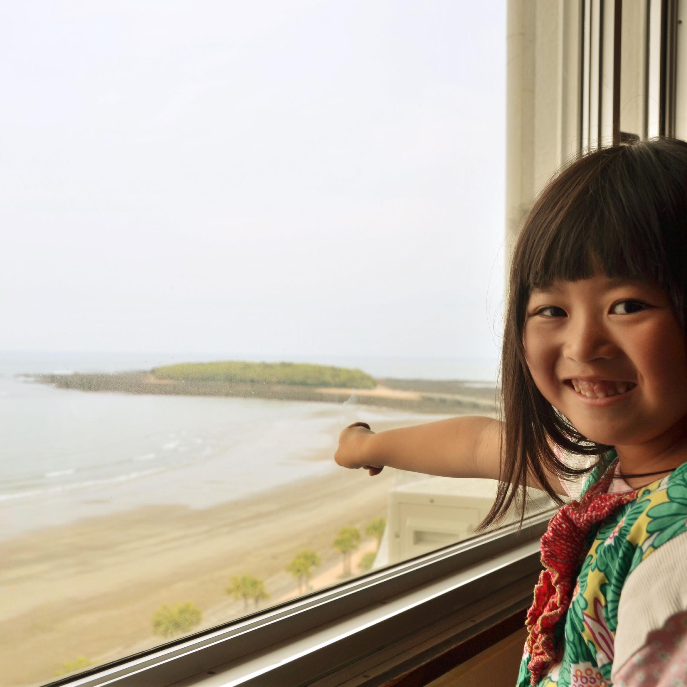 海側に面した客室から見える、青島