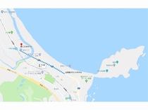 青島グランドホテルから『こどものくに』『青島』へはどちらも徒歩11分!(By Google Map)