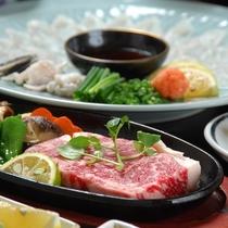 【ご夕食】お料理一例(和牛ステーキ&ふぐ刺し)