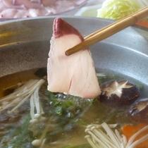 秋・冬限定プラン。錦江湾で獲れた鰤でお鍋。