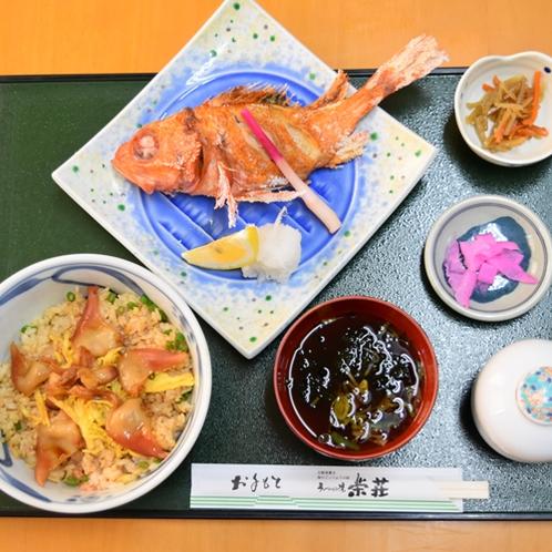 キンキ(焼)・刺身定食一例