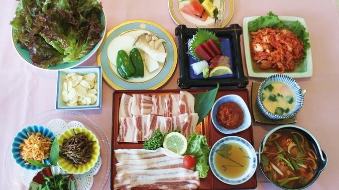 【サムギョプサルコース2食付】本場さながら!肉厚豚バラを野菜で包んで召し上がれ♪