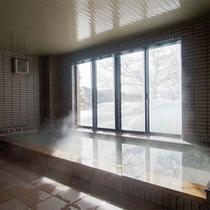 源泉かけ流しの湯-大浴場(冬)