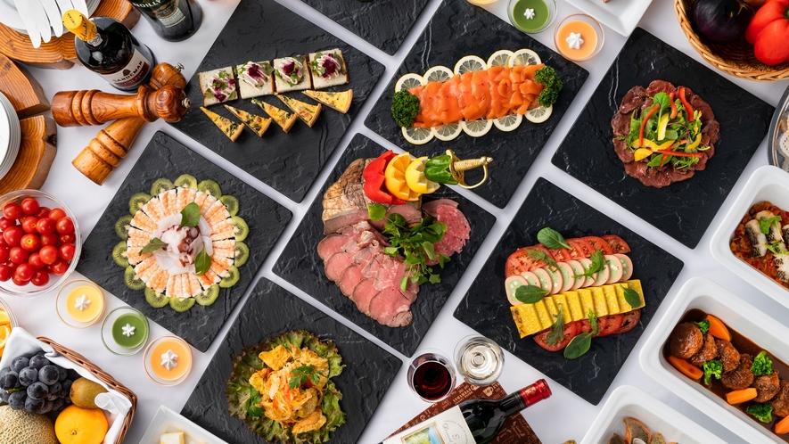 *【ディナービュッフェ一例】50種類以上のメニューで、フレンチと和食の融合を堪能。