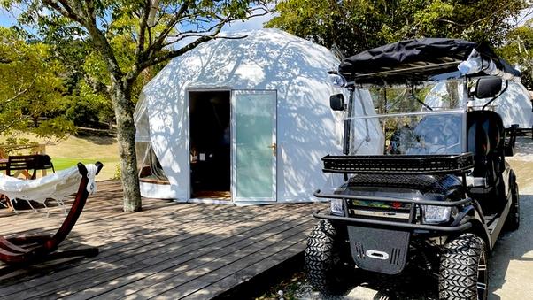 ドームテント(室内28平米・デッキ72平米)★バギーカート付