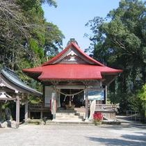 【周辺観光:紫尾神社】神社の拝殿の下には紫尾温泉の泉源があります。