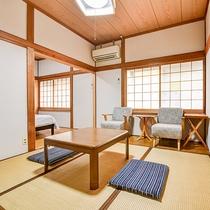 *【客室一例:和洋室】和室8畳とツインベッドを備えた和洋室です。