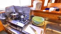 *コテージ(キッチン一例)/まな板、包丁、お鍋等、一通りの調理器具は取り揃えています。