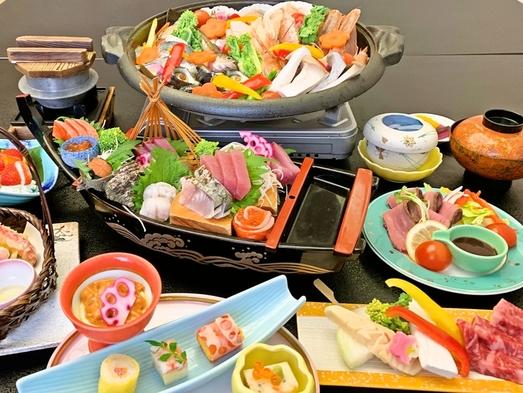 【豪華!新鮮な海鮮に和牛ステーキも♪】舟盛と和牛ステーキ&鮑入り宝楽会席