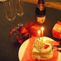 Hacoオリジナル ハートケーキとシャンパン