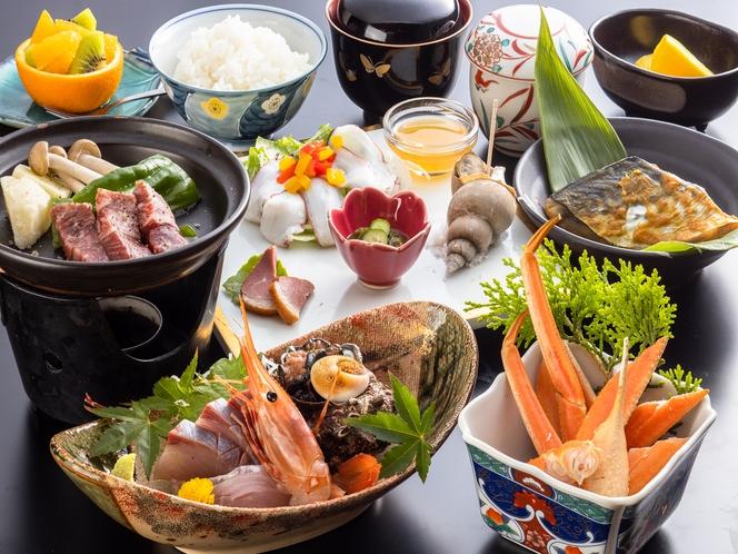 夏会席一人前例。国産牛陶板焼きと新鮮魚介でボリューム満点♪