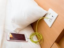 枕元に充電用USB差込口