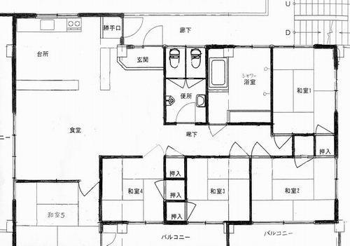 民宿コバルト荘の2階の間取り図(シャワー・トイレ共同の個室)