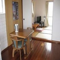 アパート1室貸しタイプ。奥に畳があります。