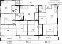民宿コバルト荘の3・4階の間取り図(シャワー・トイレ付き個室)