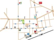 ホテルと蕨駅の周辺マップです