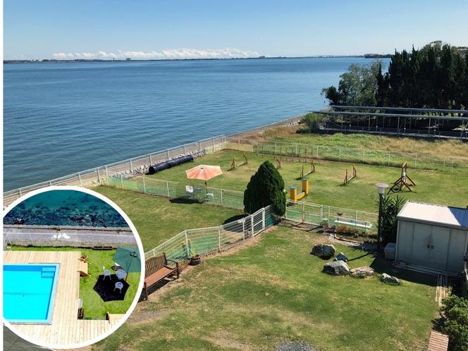 浜名湖のほとりに広がる、全面芝の2面ランとプール
