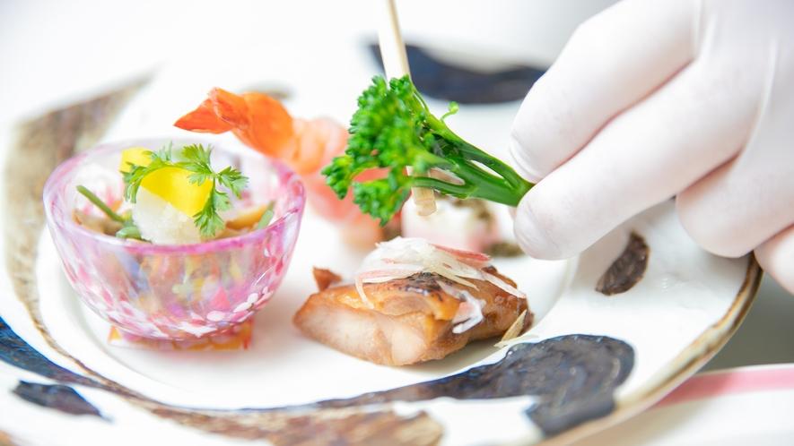 調理:食材/地元で採れる旬の食材を中心に、丁寧に調理しております