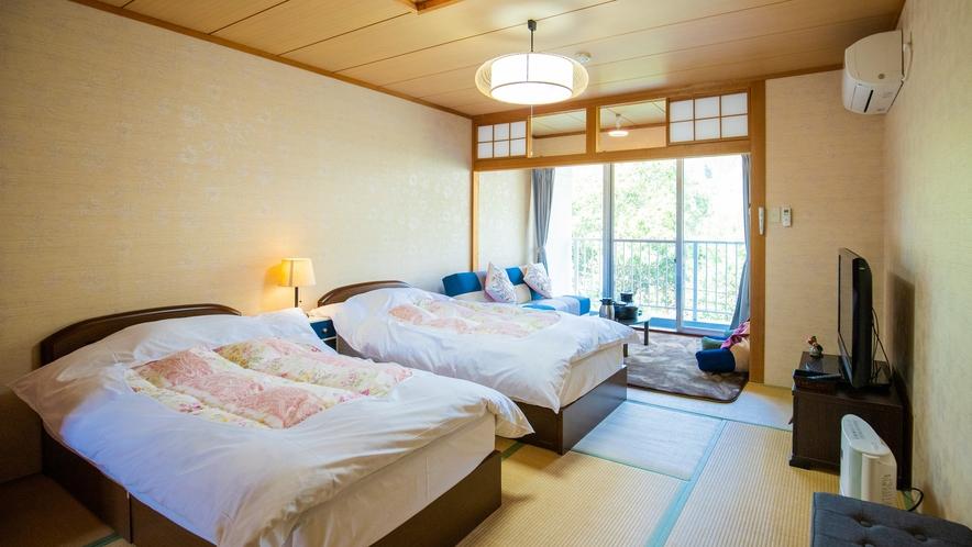 和室ベットタイプ:畳の上にツインベットをご用意した部屋です<一例>