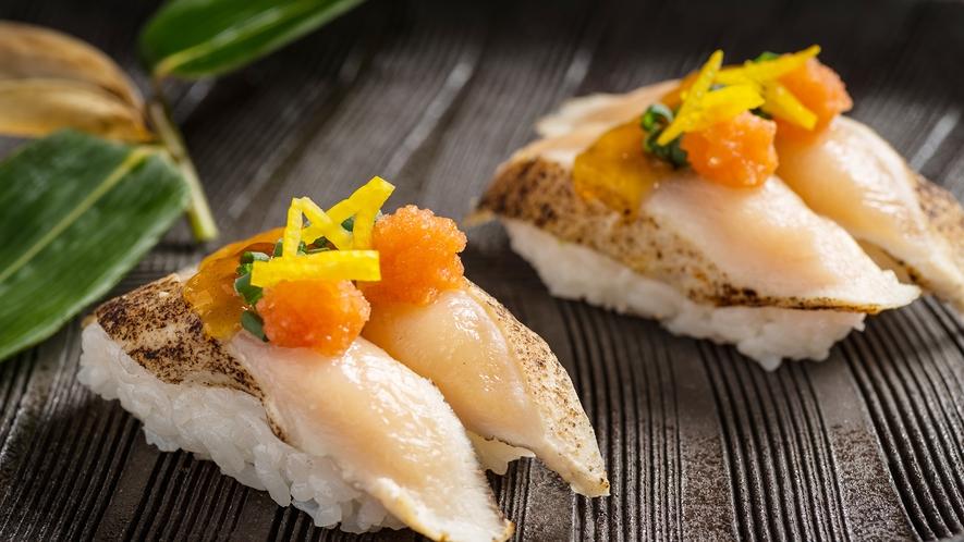 【南部かしわ『銀雪』の炙り寿司】