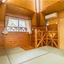 *【コテージ内寝室】布団を並べて楽しい夜をお過ごし下さい。