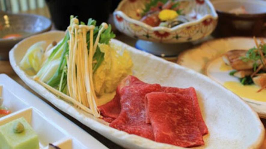 【夕食一例】津別産流氷牛のすき焼き野菜いろいろ