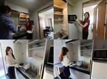 キッチン(IH1口)冷蔵庫・オーブンレンジ・炊飯器・電子ポット・調理器具・食器類等 セパレートタイプ