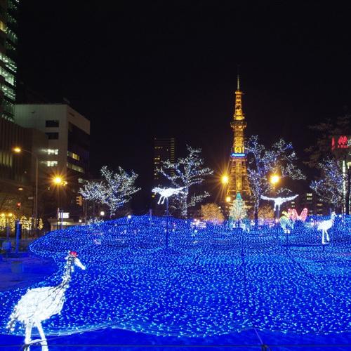 【冬】ホワイトイルミネーションとテレビ塔