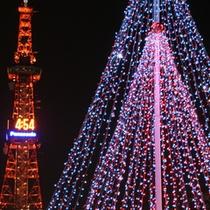 【冬】テレビ塔とホワイトイルミネーション