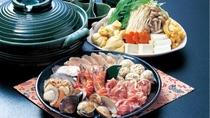 *丹波地鶏寄せ鍋:料理長特製の出汁が決め手!丹波の地鶏とお野菜をご賞味ください