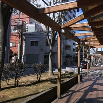 *【堺駅からのルート③】堺駅南口にあるスーパー沿いの西側アーケードを南下します。