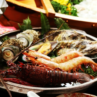 【デラックス】志摩の宴◆伊勢海老2尾×アワビ×平目活造り×手こね寿司orカキ飯◆〜特典付〜