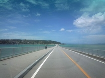 古宇利大橋 広い空とエメラルドグリーンの海に吸い込まれそう