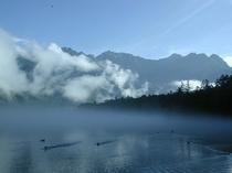 朝もやの大正池