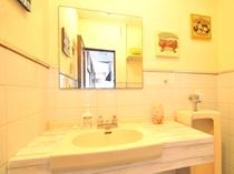 【2階洗面台&男性用(小)トイレ-(共同)】お出かけの準備に余裕のある広さの洗面台